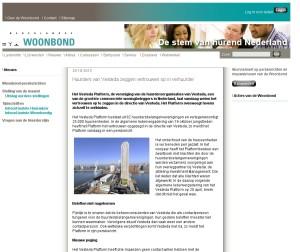 Screenshot Woonbond site, Vestada klacht